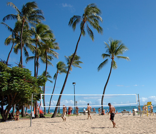 Beach Volleyball Game in Hawaii