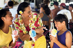 Hawaiian Family Eating Shave Ice