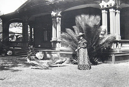 Princess Kaiulani Feeding Ainahau 	Peacocks